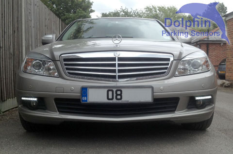 Mercedes with daytime ruinning lights installed